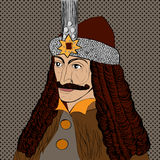 Dracula portrait. Portrait of Vlad Tepes of Wallachia, Romania, known as Dracula, pop art cartoon over dots texture Stock Image