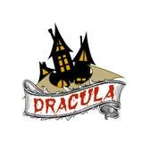 Dracula`s castle and bat. Dracula is gothic horror novel by irish author Bram Stoker Stock Images