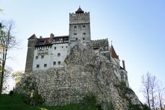 Dracula`s castle on a sunny autumn day. Look up. royalty free stock photo