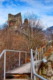 Dracula's fortress at Poienari,. Landscape with Dracula's fortress at Poienari, Romania Royalty Free Stock Photos