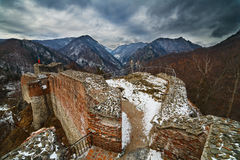 Dracula's fortress at Poienari,. Landscape with Dracula's fortress at Poienari, Romania Royalty Free Stock Images
