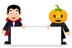 Dracula & Scarecrow with Blank Banner. Two Halloween monsters, the Count Dracula and a cute scarecrow with a pumpkin head, holding a blank banner. Eps file stock illustration