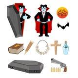 Dracula set. Vampire and bats. Weapon against vampires. Garlic a Royalty Free Stock Image