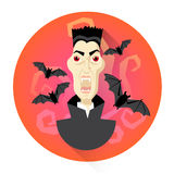 Dracula Vampire With Bats Halloween Holiday Icon Royalty Free Stock Images