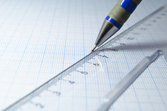 Drafsmanship with pencil and ruler Royalty Free Stock Photo
