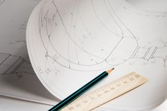 Draft. Some drafts of architectural elements and tools of the designer Stock Photo