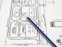 Draft. The engineering draft and pencil royalty free stock images