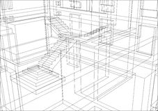 Draft Background 9. Draft view of architecture fragment. 3d model render Royalty Free Stock Photography