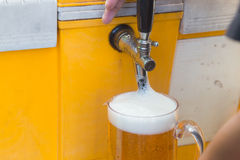 Draft beer dispenser. In party or pub Stock Photo