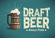 Draft Beer Logo Label Design  With Wooden Mug Or A Tankard Of Be Stock Images