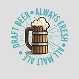 Draft Beer Logo Label Design  With Wooden Mug Or A Tankard Of Be. Er With Foam Illustration. Vector Graphic Stock Image