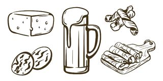 Draft beer and snacks Stock Image