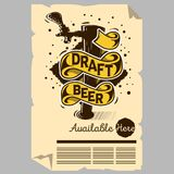 Draft Beer Tap Machine Illustration Poster Flyer Design For Promotion For Restaurants Pubs Clubs. Stock Photo
