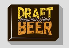 Draft Beer Typographic Sign Design For Pubs Restaurants Bars For Promotion.  Stock Images