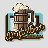 Draft Beer Wooden Mug Or A Tankard Of Beer With Foam Illustration. Sign Design For Promotion. Vector Graphic. Draft Beer Wooden Mug Or A Tankard Of Beer With Stock Photo
