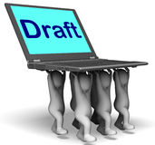Draft Characters Laptop Show Outline Document Or Letter Online Royalty Free Stock Images