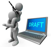 Draft Characters Laptop Show Outline Email Or Letter Online Stock Photo