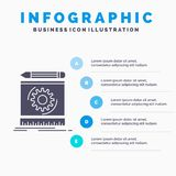 Draft, engineering, process, prototype, prototyping Infographics Template for Website and Presentation. GLyph Gray icon with Blue royalty free illustration