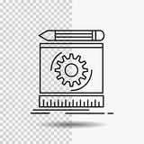 Draft, engineering, process, prototype, prototyping Line Icon on Transparent Background. Black Icon Vector Illustration royalty free illustration