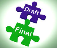 Draft Final Puzzle Shows Write And Rewrite Stock Photography