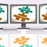 Draft Final Puzzle Shows Write And Rewrite Royalty Free Stock Photography