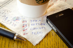 Draft idea on coffee shop tissue Royalty Free Stock Photos
