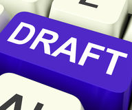 Draft Key Shows Outline Document Or Letter. Draft Key Showing Outline Document Or Letter Royalty Free Stock Photography
