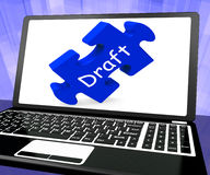 Draft Laptop Shows Online Outline Document Or Letter Email Stock Photo