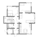 The draft plan of arrangement. Of all furniture, architect plan, black-and-white,  for two-storeyed house, ground floor Royalty Free Stock Photos