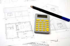 Draft plan of building a house Stock Photography
