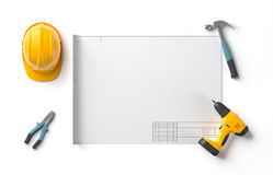 Draft project, helmet and construction tools Royalty Free Stock Photos