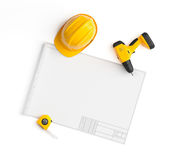 Draft project, helmet and measuring tape on isolated background Royalty Free Stock Photos