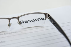 Draft of Resume Stock Image