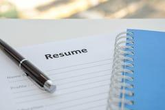 Draft of Resume Stock Photos
