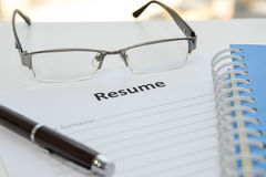 Draft of Resume Royalty Free Stock Photo