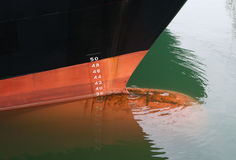 Draft scale numbering. Bow of a ship with draft scale numbering Royalty Free Stock Photo