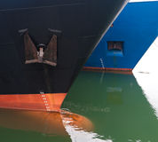 Draft scale numbering. Bow of two ships with draft scale numbering Royalty Free Stock Photos