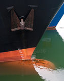 Draft scale numbering. Bow of two ships with draft scale numbering Stock Photo