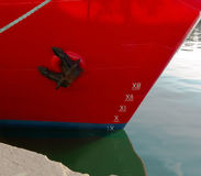 Draft ship. Ship with draft scale numbering side Royalty Free Stock Photo