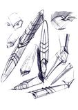 Draft sketch development of the design of an exclusive pen and ballpoint pen. stock illustration