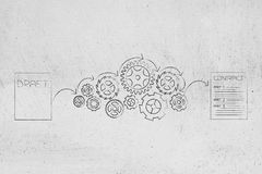 From draft to final contract sheets with gearwheel mechanism in. From draft to final contract conceptual illustration: sheets with gearwheel mechanism in between Royalty Free Stock Photos
