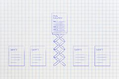 From draft to final document group of paper sheets and one on a. From draft to final document: group of paper sheets and one on a spring Stock Image
