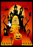 Halloween cover design with pumpkin and cemetery Stock Images