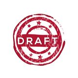 `Draft` vector rubber stamp. Label design ready made template Stock Illustration