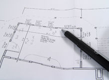 Drafting. Photo of prints and pencil - Part of Series royalty free stock images