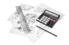Drafting calculation and construction concept Royalty Free Stock Photos