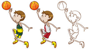 Drafting character for basketball player dunking Royalty Free Stock Photos