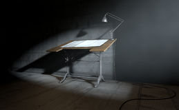Drafting Desk Lamp And Paper Stock Image