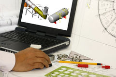 Drafting engineering works Stock Image