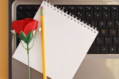 Drafting A Love Email Royalty Free Stock Photo